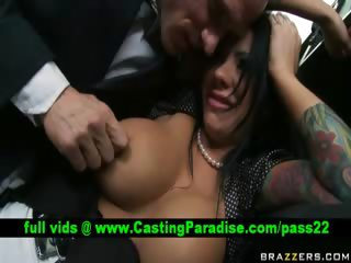 Stunning busty brunette in action
