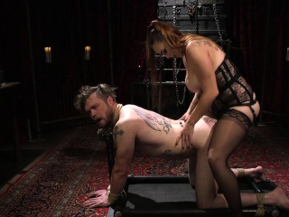 Busty slut anal fucks male slave femdom