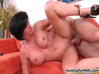Busty brunette milf gets horny part2