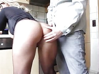 blonde milf hither big inept tits property fucked in the matter of kitchen
