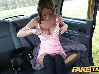 Fake Hansom cab Busty Welsh Milf Stacy Saran wanks and fucks beyond everything ta