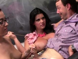 Naughty floosy Roxanne Rae fucks around playmate