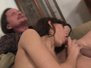 He finds will not hear of small tits GF riding grey dad's cock