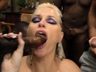 Busty blonde babe sucking