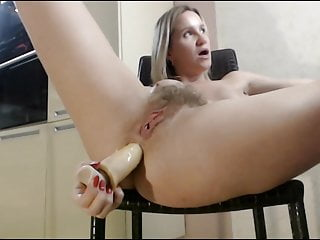 Hairy pussy become man fucks her asshole everywhere toy on chair