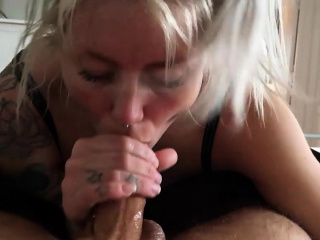 Busty blonde milf gives a great pov handjob