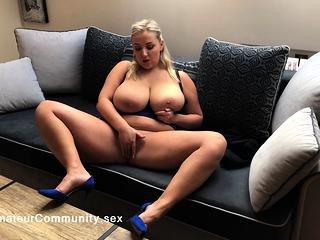 German BBW with hugeboobs solo masturbating