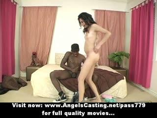Sexy brunette girl having interracial sex
