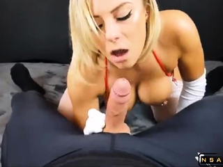 Stacked blonde pains blowing coupled with banging a meat rod in POV