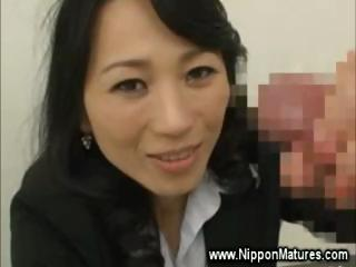 Naughty asian housewife sucks cock