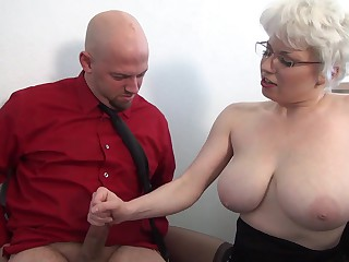 Reproachful femdom handjob on touching office immigrant busty MILF