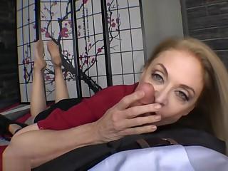 Nina Hartley nylon feet footjob with an increment of blowjob