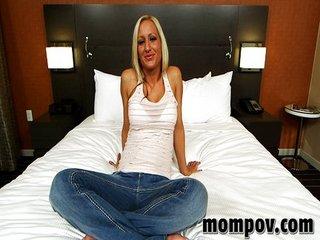Horny blonde MILF in first porn