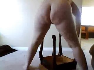 mom rides leg of stool