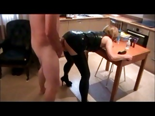 SlutWife fucked unrestraint kitchen feed