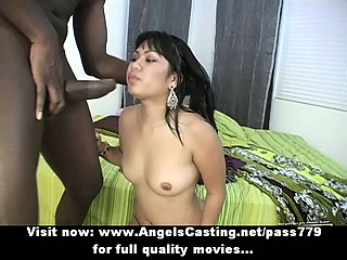 Lovely asian brunette lass having interracial dealings