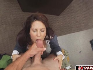 Milf needs bossy and goes down out of reach of the brush knees