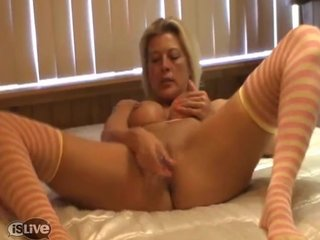 Milf near stockings fucks will not hear of twat at hand a Dildo