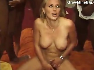 Blonde gives moneyed up down the big gangbang