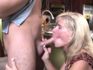 Grown-up milf handjob added to blowjob in larder