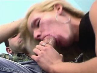 Blonde bitch deepthroats
