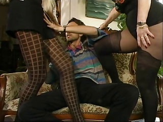 MFF Steve got involved nearly duo hot MILFs in the air pantyhose